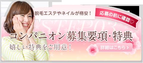 コンパニオン募集要項・特典 嬉しい特典をご用意!